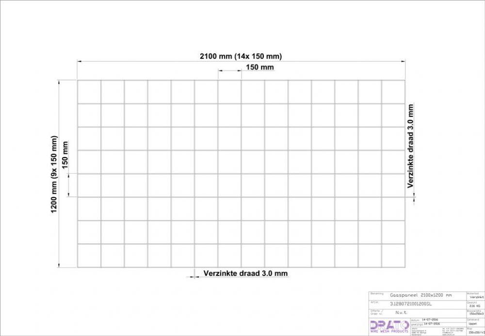 Drahtdurchmesser 3.0, Dimension 2100 x 1200 mm (Boden Heizmatten)
